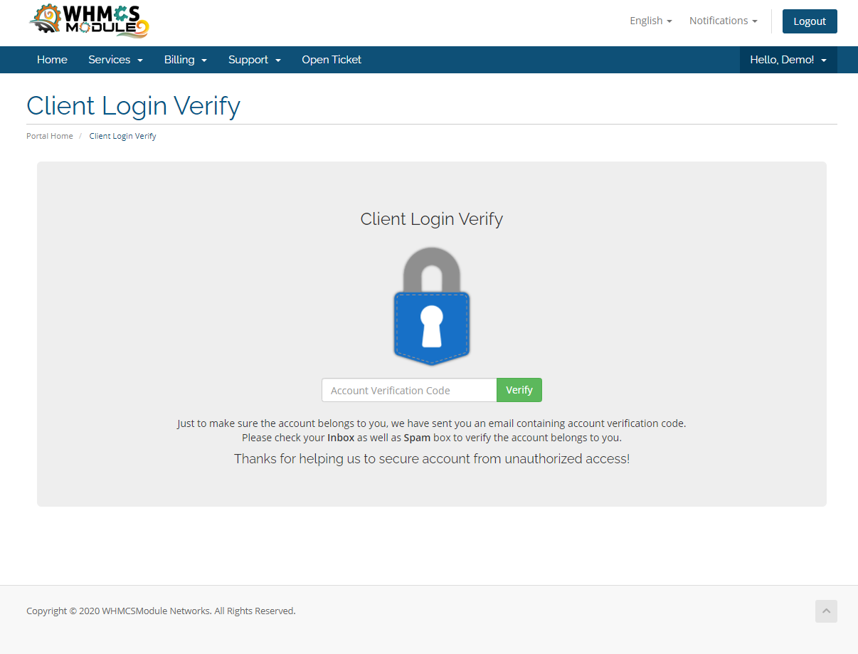 Client Login Verification Module for WHMCS