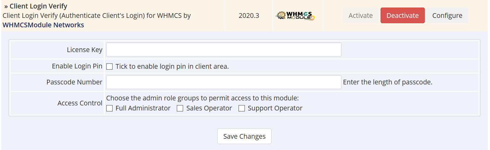 Client Login Verify for WHMCS