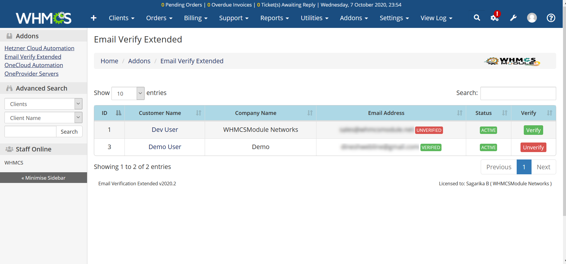 Email Verification Extended Module for WHMCS