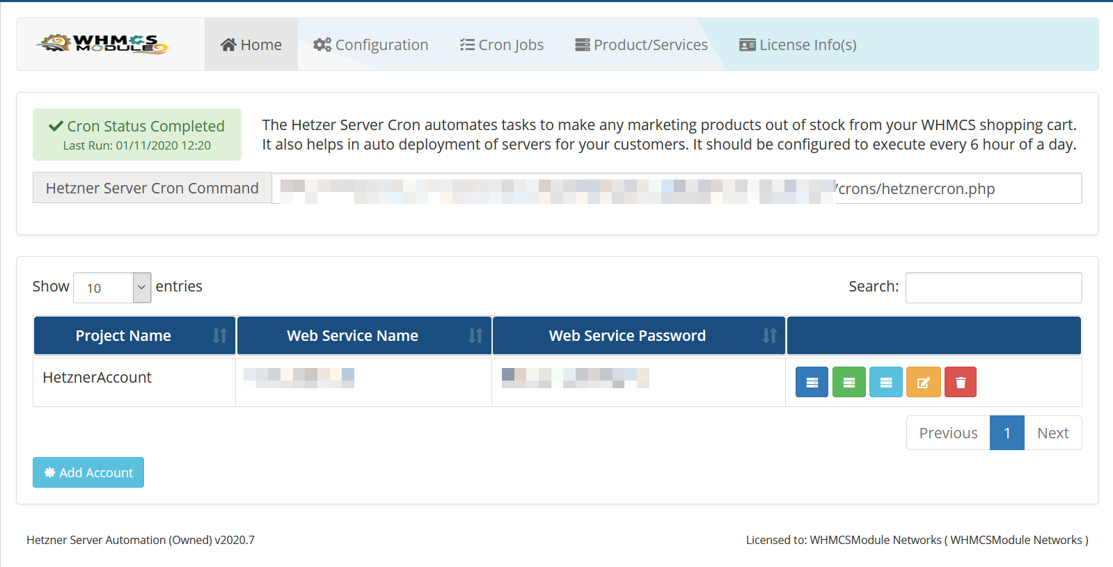 Hetzner Server WHMCS Module