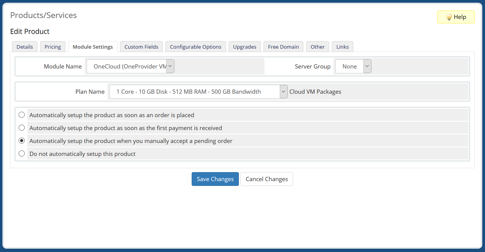 OneCloud (OneProvider VM) Automation WHMCS Module
