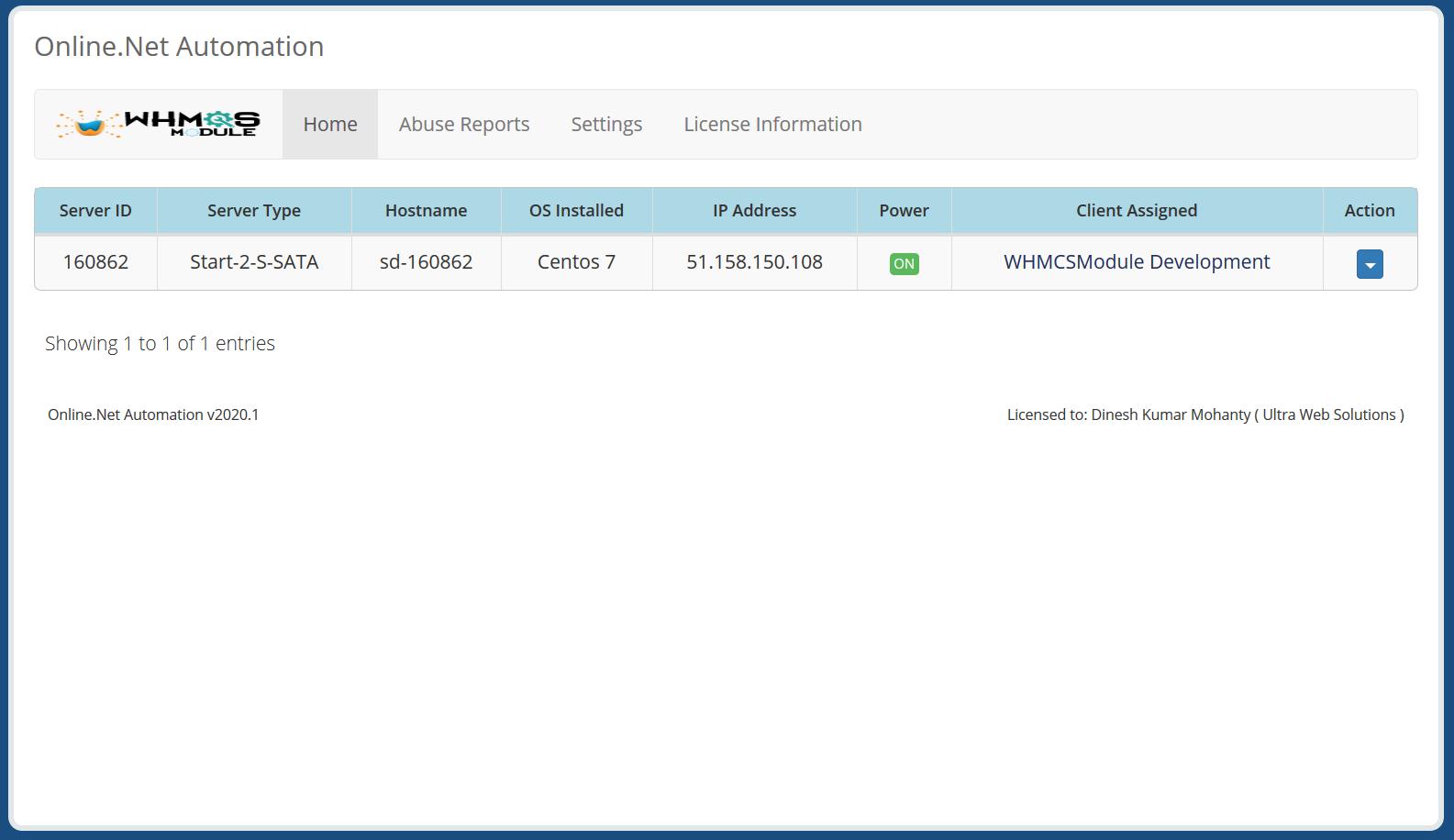 Scaleway (Online.net) Automation WHMCS Module