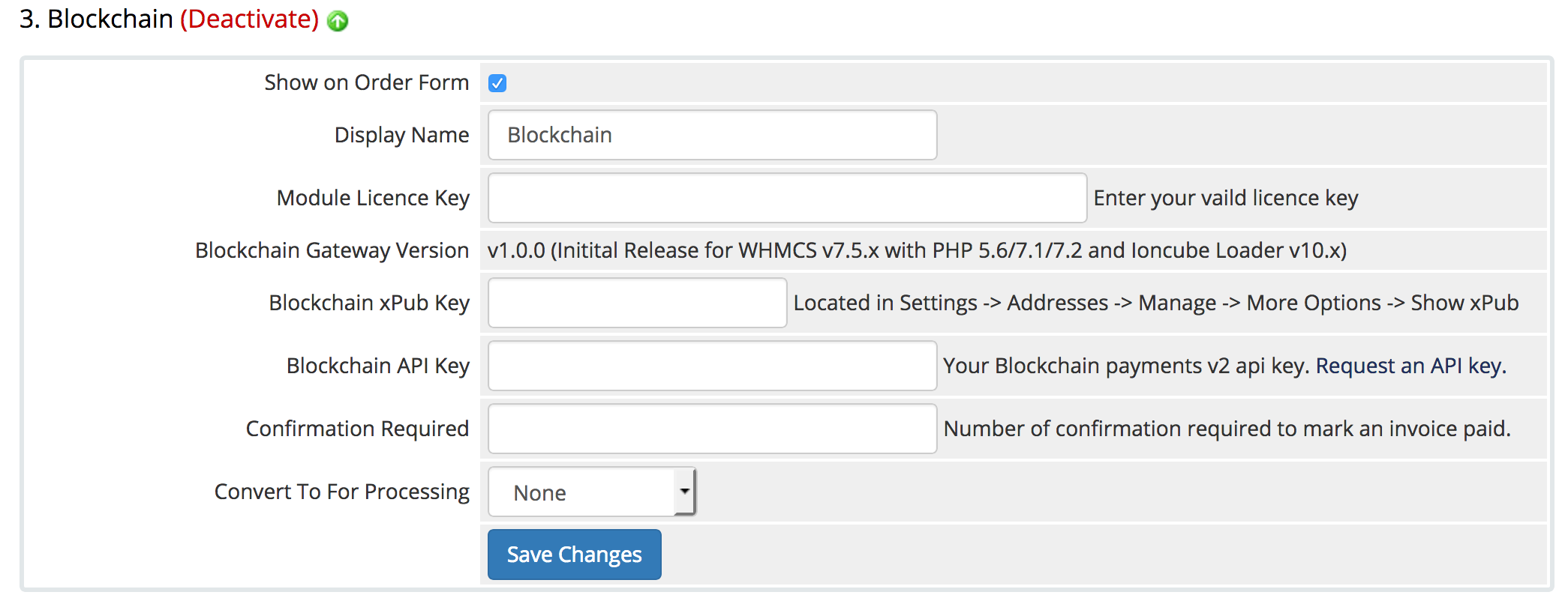 Blockchain Payment Gateway Module for WHMCS