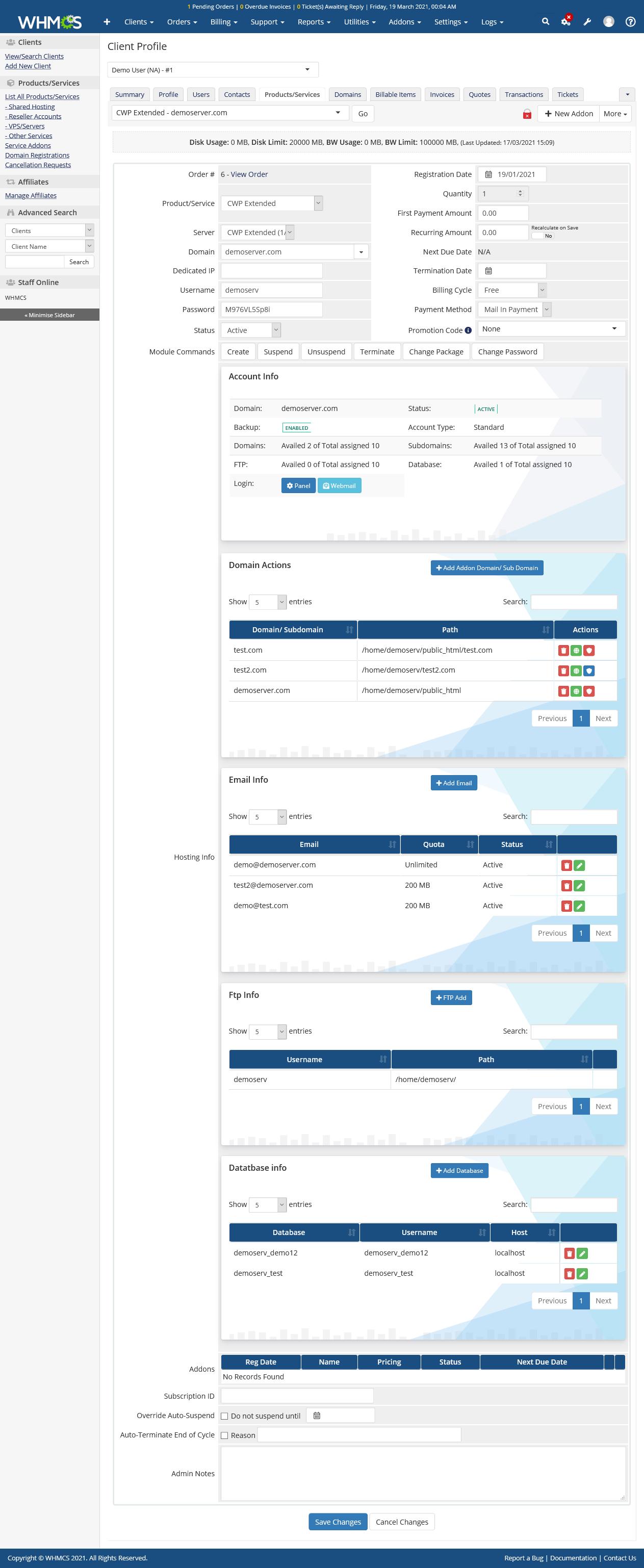 CentOS Web Panel Automation WHMCS Module