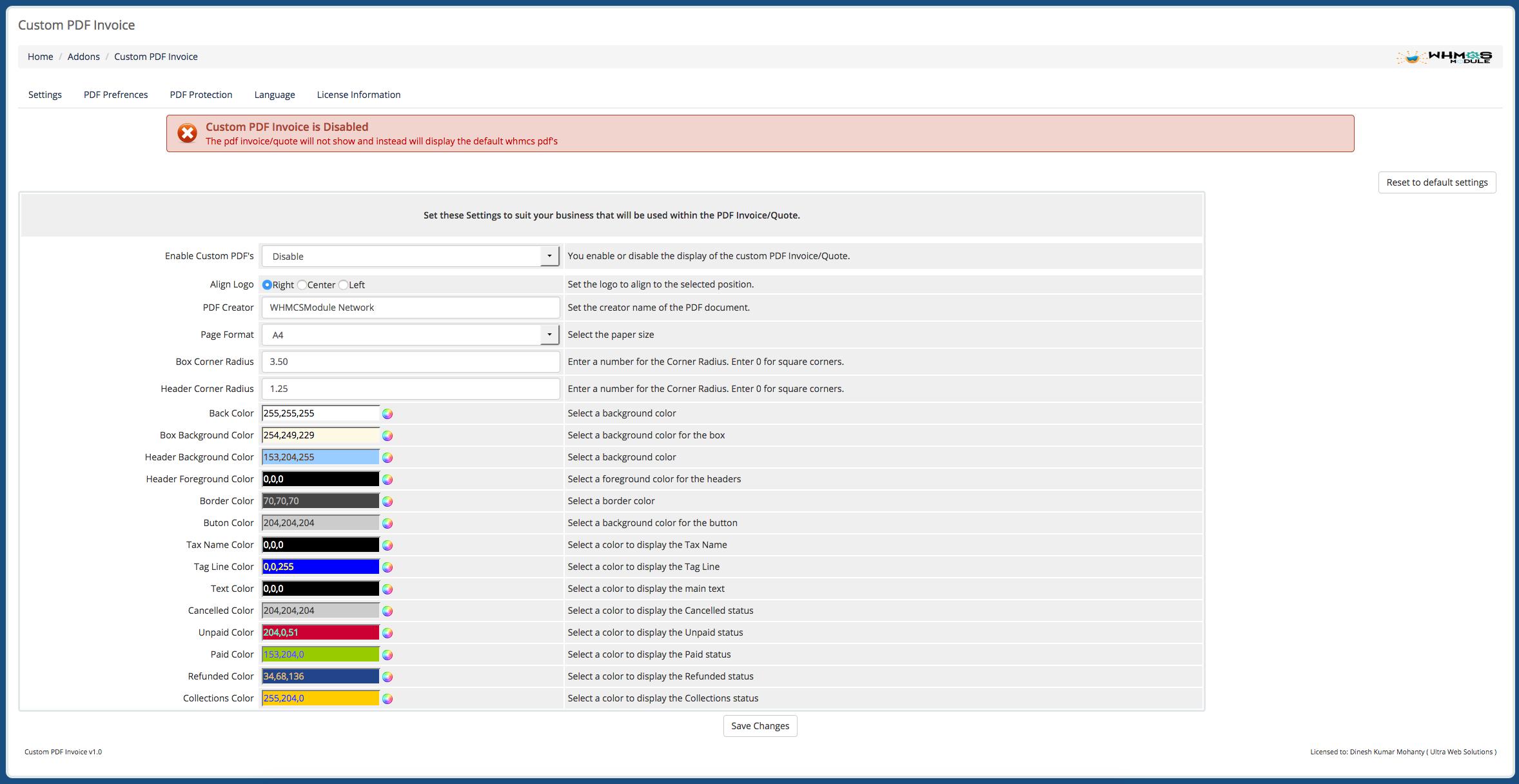 Custom PDF WHMCS Module