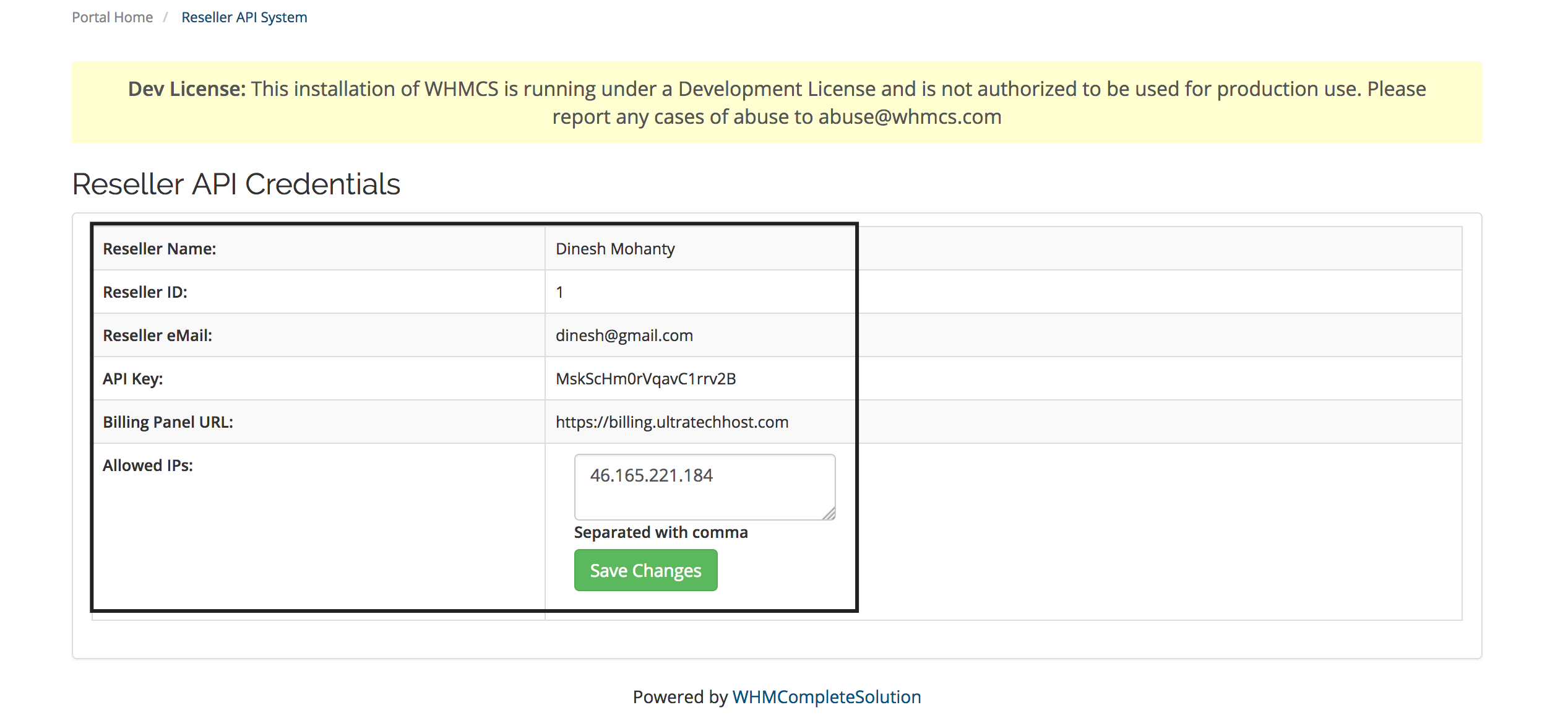 Reseller API System Module for WHMCS