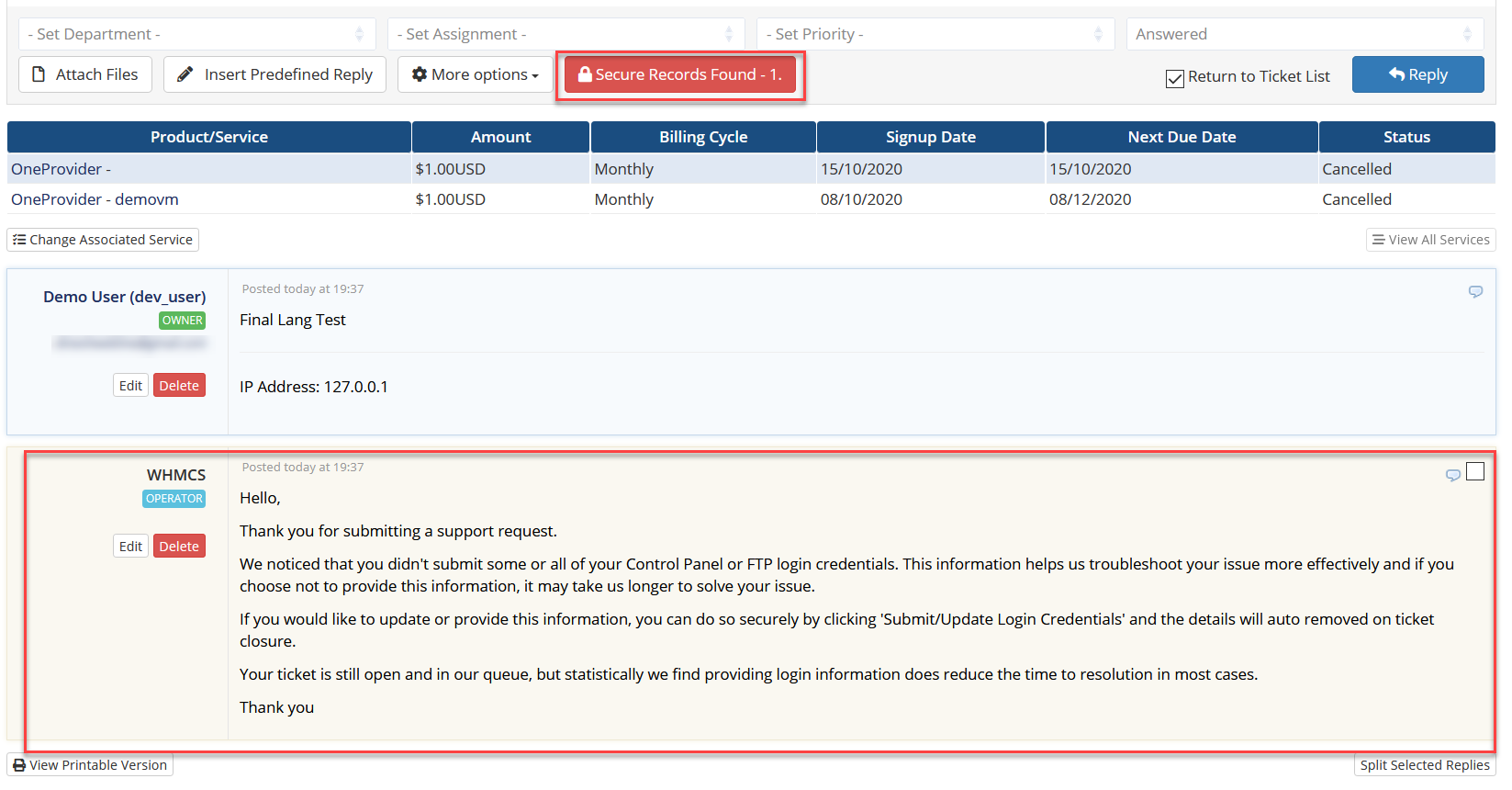 Secure Sensitive Ticket Data for WHMCS