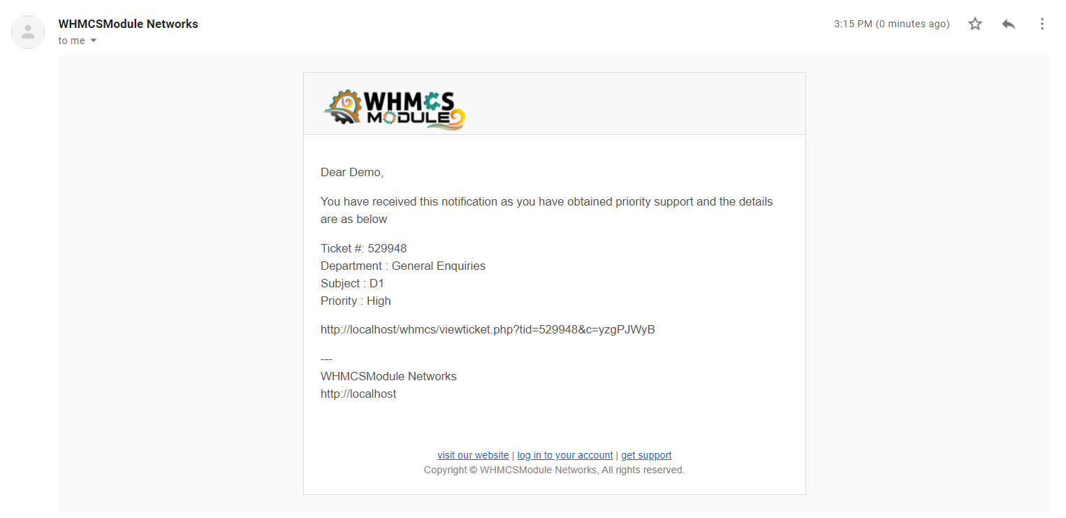 Ticket Priority support for WHMCS
