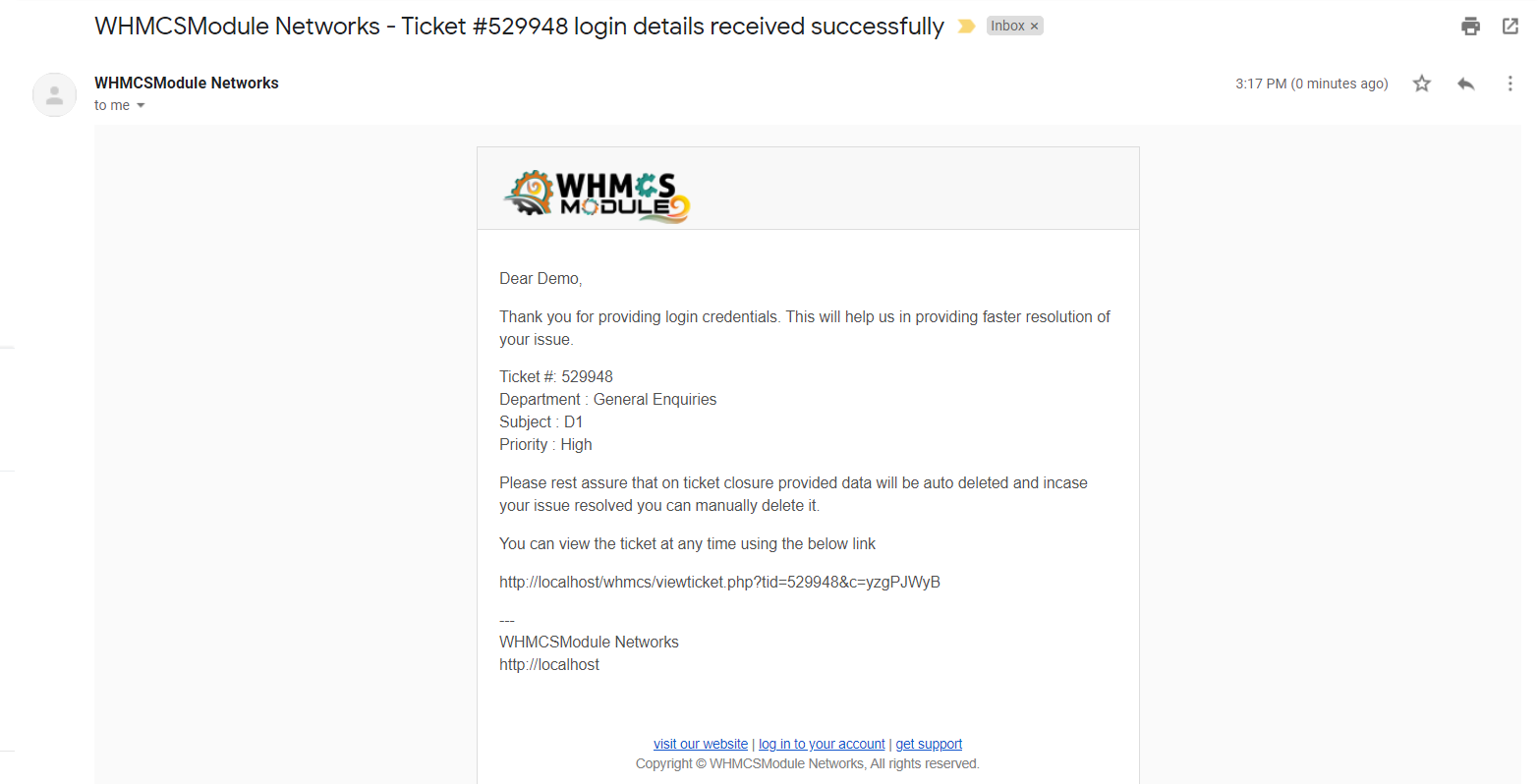 Sensitive Ticket Data for WHMCS