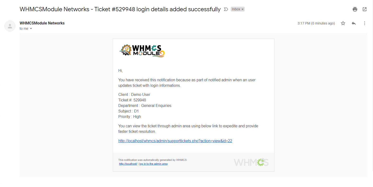 Login Credentials for WHMCS