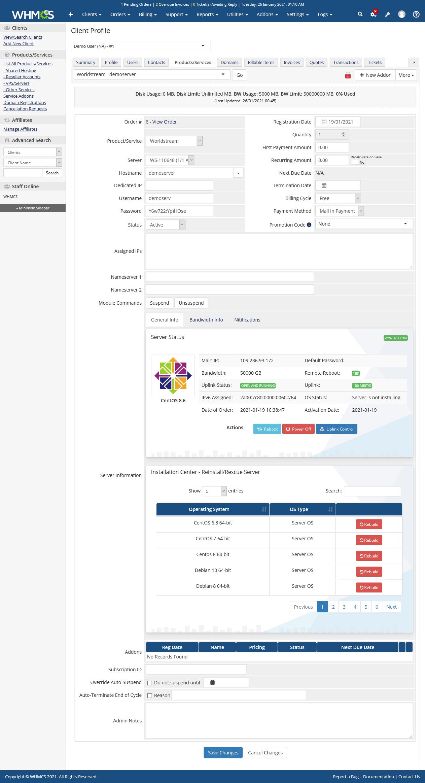 Worldstream Server Automation WHMCS Module